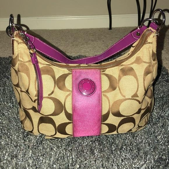 Coach Handbags - Authentic Coach Berry Pink & Khaki Signature Hobo